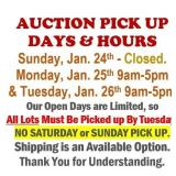 All Items Must Be Picked Up by Tuesday @5:00pm