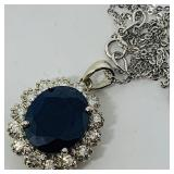 14KT WHITE GOLD 8.80CTS SAPPHIRE&.84CTS DIA.