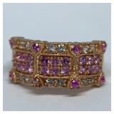 10KT ROSE GOLD MULTI COLOR SAPPHIRE RING