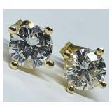 14KT YELLOW GOLD 1.02CTS DIAMOND STUD EARRINGS