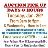 ALL ITEMS MUST BE PICKED UP BY WEDNESDAY @1:00pm