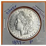 "1897 ""P"" - MORGAN SILVER DOLLAR"