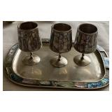 """MADE IN MEXICO """"ALPACA"""" CUPS & SERVING TRAY"""