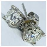 14KT WHITE GOLD 1.00CTS DIAMOND STUD EARRINGS