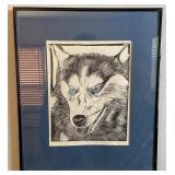 850 - FRAMED, SIGNED M. VAN HORNE DOG PRINT