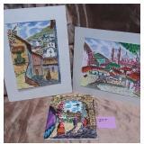 161 - TILE ART & 2 UNFRAMED ART PIECES