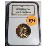 "2002 ""PF70"" ULTRA CAMEO - $1 DOLLAR (105)"