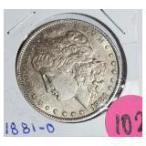 """1881 """"O"""" - MORGAN SILVER DOLLAR (102)"""