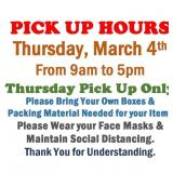 ALL ITEMS MUST BE PICKED UP BY 3/4/21 BY 5:00pm