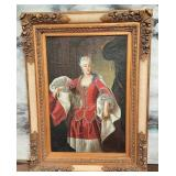 11 - UNIQUE FRAMED COLONIAL LADY PAINTING