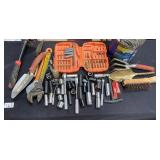 LARGE LOT OF WRENCHES, DRILL BITS, SOCKETS (8)