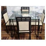 714 - STUNNING ART DECO GLASS TOP DININGROOM TABLE
