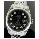 Mens Oyster Perpetual Datejust Black Dial Rolex