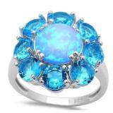Quality 4.50 ct Blue Opal & Topaz Designer Ring