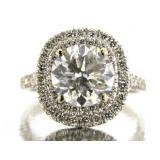 14kt Gold 3.84 ct Brilliant Round Diamond Ring