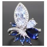Antique Style 4.33 ct Blue-White Sapphire Ring