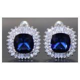Stunning 5.40 ct Sapphire-Baguette Topaz Earrings