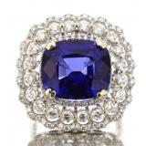 18kt Gold 12.59 ct Cushion Sapphire & Diamond Ring