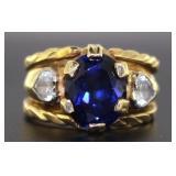 14kt Gold Oval HEAVY Sapphire & White Topaz Ring