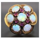 14kt Gold Vintage Fire Opal & Ruby Dinner Ring