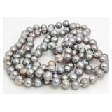 """Genuine 36"""" 7-8 mm Gray Pearl Strand Necklace"""