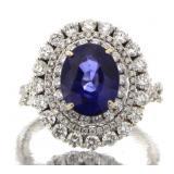 18kt Gold 4.95 ct Oval Sapphire & Diamond Ring