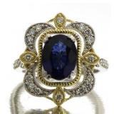 14kt Gold Oval 2.78 ct Sapphire & Diamond Ring