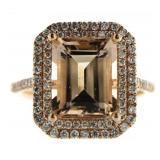 14kt Rose Gold 3.50 ct Morganite & Diamond Ring