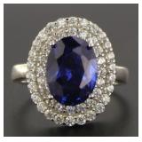 Oval 5.20 ct Sapphire & White Topaz Designer Ring