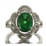 14kt Gold Oval 2.05 ct Emerald & Diamond Ring