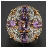 Genuine 4.10 ct Barazil Amethyst & Diamond Ring