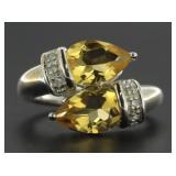 Genuine 2.13 ct Pear Cut Citrine Designer Ring