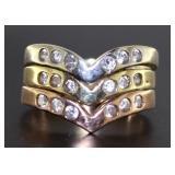 14kt Rose, Yellow & White Gold Stack Ring