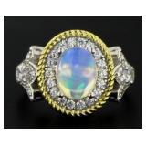 Natural Cabochon Ethiopian Opal Designer Ring