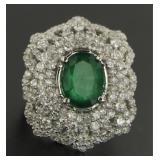14kt Gold Natural 6.83 ct Emerald & Diamond Ring