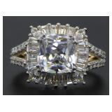 Cushion Cut 4.50 ct White Topaz Designer Ring