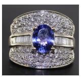 14kt Gold Natural Tanzanite & Diamond Ring