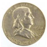 1956 Variety 1 Franklin Silver Half Dollar