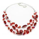 Red & Orange Large Triple Strand Necklace