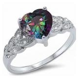 Gorgeous Mystic Topaz Heart Solitaire Ring