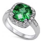 Large Cushion Cut Emerald Halo Ring