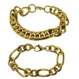 (2) Stainless Steel Yellow-tone Bracelets