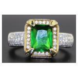 Emerald Cut 3.66 ct Emerald Pave