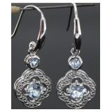 Natural Blue Topaz & Diamond Dangle Earrings