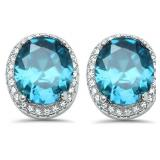 Oval 4.10 ct Aquamarine Designer Earrings