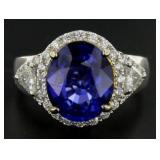 14kt Gold 7.16 ct Oval Sapphire & Diamond Ring