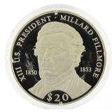 2000 Liberia .999 Silver Proof $20 Pres. Fillmore