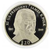 2000 Liberia .999 Silver Proof $20 Pres. Polk