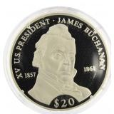2000 Liberia .999 Silver Proof $20 Pres. Buchanan