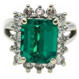 14kt Gold 4.90 ct Emerald & Diamond Ring